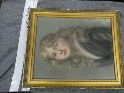 BONNAT (XXème)  Portrait de jeune fille à...