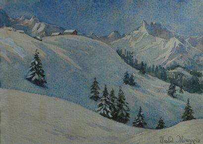 Ysabel MINOGGIO-ROUSSEL (1865-?)  Paire d'aquarelles....