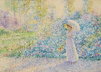 Ecole pointilliste  Femme à l'ombrelle...