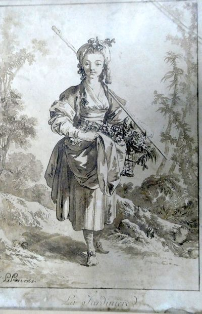 LE PRINCE  La jardinière, 1768.  Gravure  Dim. : 23 x 15 cm.
