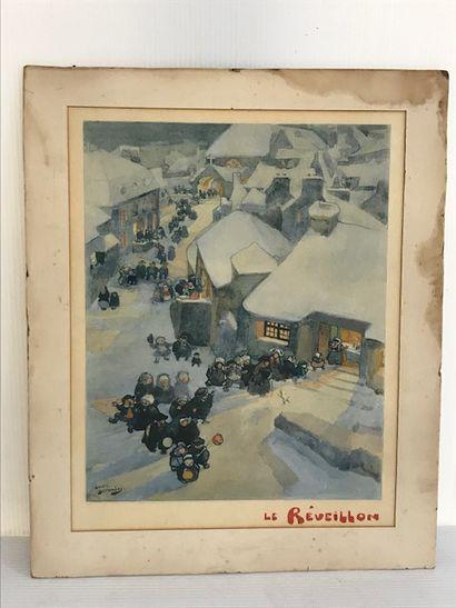 Andre DEVAMBEZ (1867-1943), d'après  Le réveillon  Lithographie en couleurs, signée...