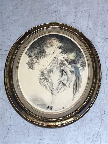 LOUIS ICART (1888-1950)  Jeune fille au perroquet...