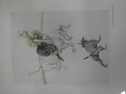 D'après Toulouse-Lautrec  La Goulue  Impression en couleurs  Signature apocryphe...