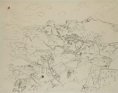Pierre AMBROGIANI (1907-1985)  Paysage montagneux...