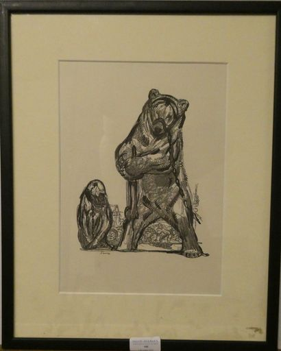 D'après Paul JOUVE (1878-1973)  Ours et Singe...