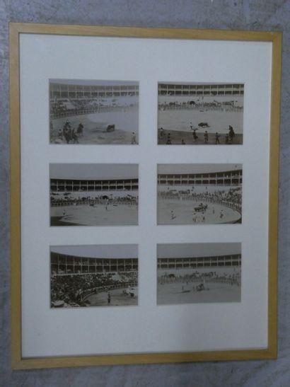 TAUROMACHIE  Suite de six photos en noir...