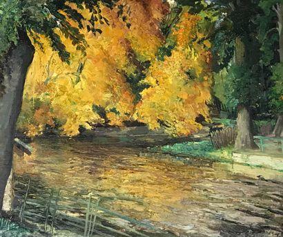 PIERRE VALADE (1909-1971)  Bord de rivière,...