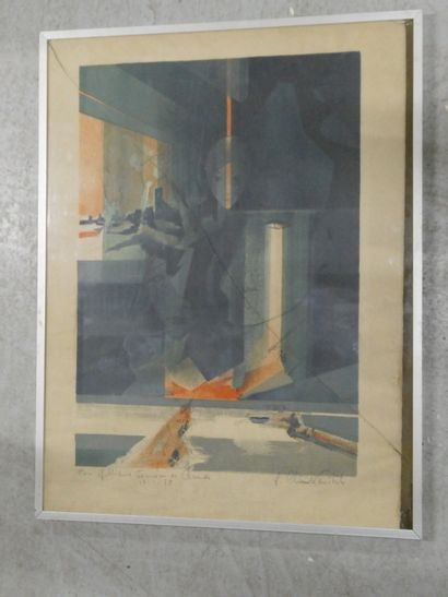 Ensemble de deux lithographies abstraites signées et numérotées.  Dim. : 65 x 47...