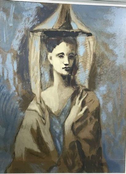 Pablo PICASSO, d'après  Jeune femme de Majorque, 1954  Callichromie d'après une...