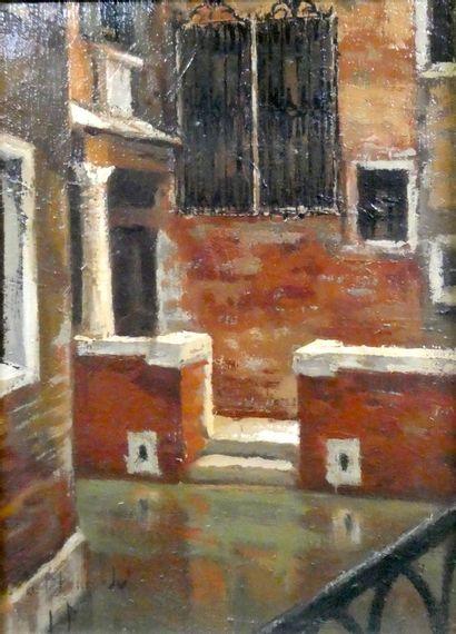 Ecole française vers 1950  Canal de Venise...