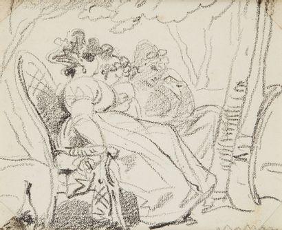 EUGÈNE DEVÉRIA (1808-1865)  La discussion...