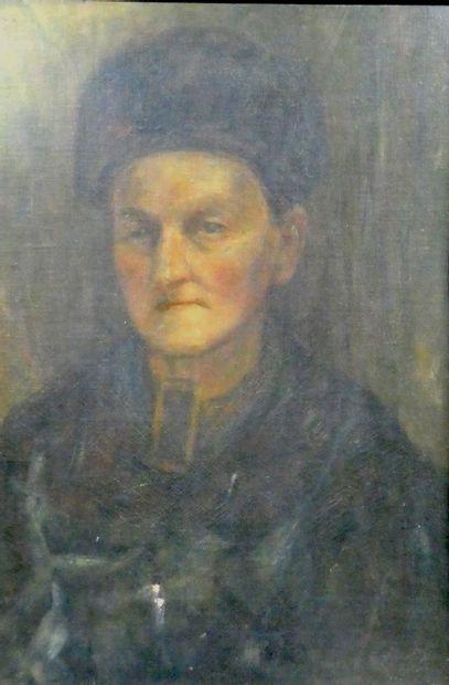 Ecole russe  Portrait d'homme à la tocque...