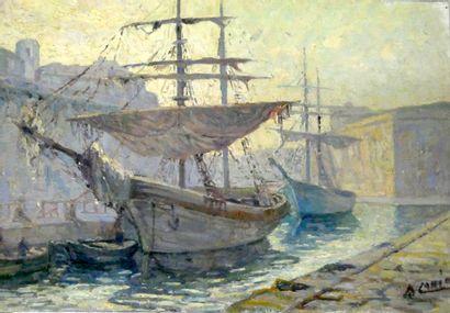 B. LAHIR , (Xxè siècle)  Bateaux à quai....