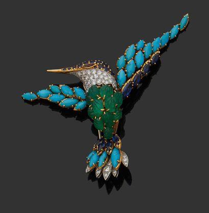 VAN CLEEF & ARPELS Broche en or 750 millièmes stylisant un Martin-pêcheur les ailes...