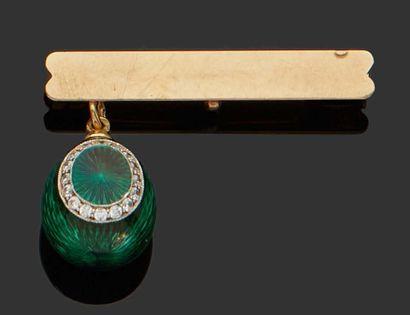18K (750) green enamelled yellow gold EGG...