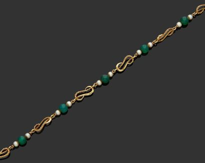 NECKLACE in 18K (750) yellow gold made up...