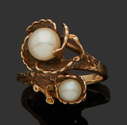 YOU AND ME RING in 9K yellow gold (375) set...