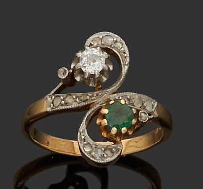 YOU AND ME RING in 18K (750) yellow gold...