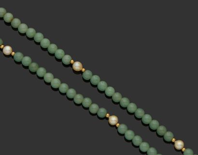 COLLIER de perles de jade alternées de perles...
