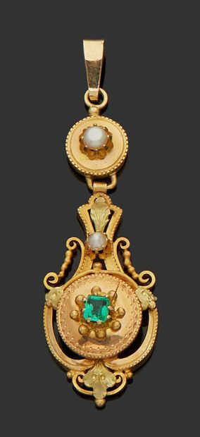18K (750) yellow gold PENDANT richly chased...