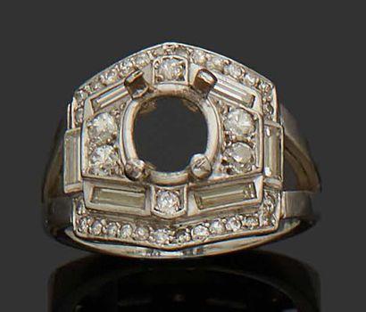 RING SET in 18K (750) white gold, richly...