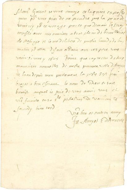 Jacques AMYOT (1513-1593) précepteur puis aumônier de Charles IX et Henri III, écrivain, traducteur de Plutarque, évêque d'Auxerre.