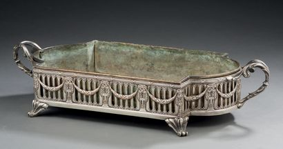 CENTRE DE TABLE en métal argenté de style...