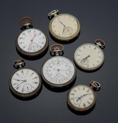 ENSEMBLE de six montres de gousset en mé...