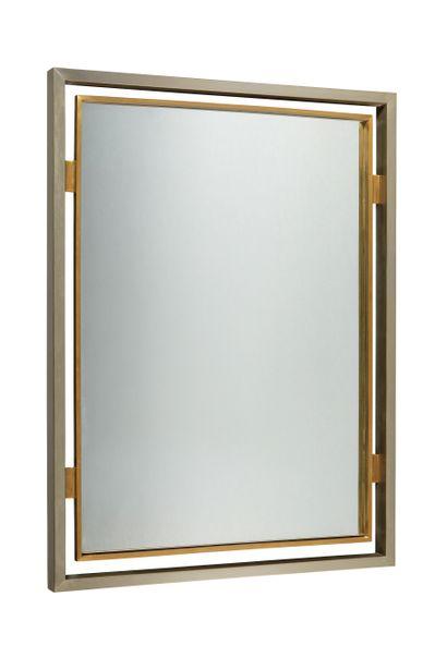 GUY LEFEVRE (XXÈME)  Miroir rectangulaire et métal chromé et laiton  Dim. : 84 x...