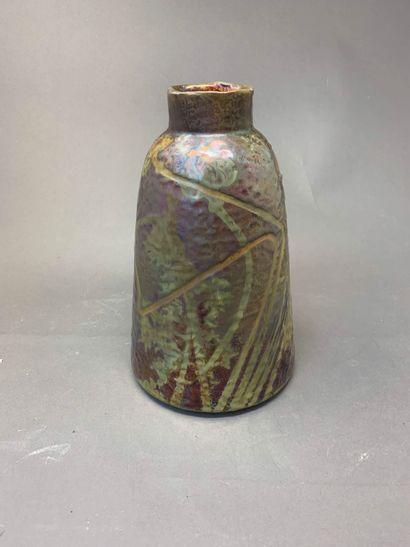 Clément MASSIER (1844-1917)  Vase tronconique...