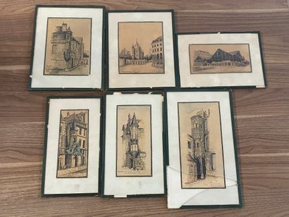 Marry DEGUY SAAPH  Ensemble de six dessins...