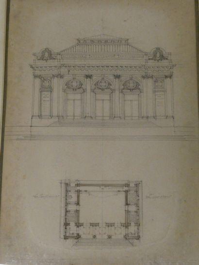 Dessin d'architecture du XIXèsiècle  Façade...