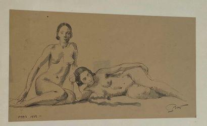 Deux Femmes nues  Dessin signé en bas à gauche...