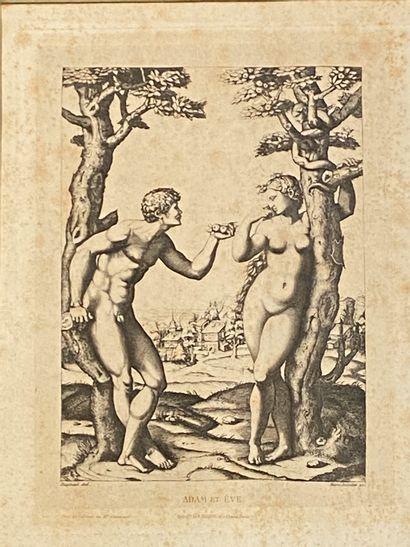 D'après Raphael  Adam et Eve  Héliogravure...