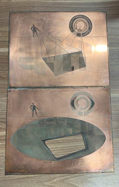 Deux plaques en cuivre de gravure.  26,5...