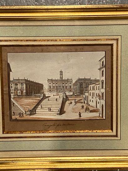 Ecole Italienne du XIX siècle  Vue d'achitecture...