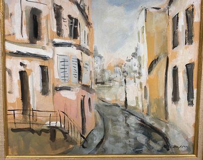 Ecole du Xxè siècle  Rue de ville  Gouache...