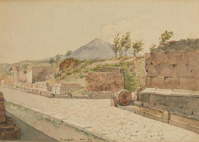 Ecole Italienne du XIXè siècle  Vue de Pompéi...