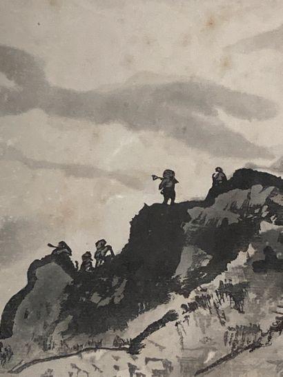 CHINE  Personnages dans un paysage montagneux...