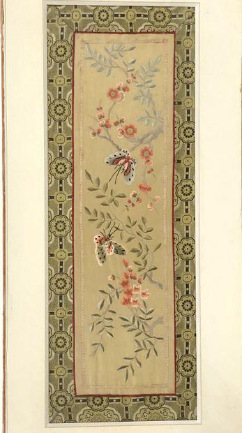 Deux soies brodées  Chine    Dim.: 21 x 61.5...