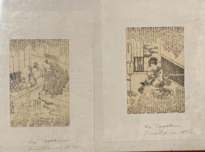 JAPON  Scènes d'intérieur  Deux gravures...
