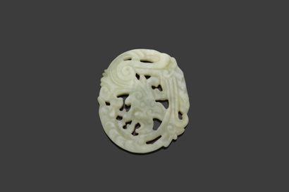 CHINE  Plaquette circulaire en jade gris...
