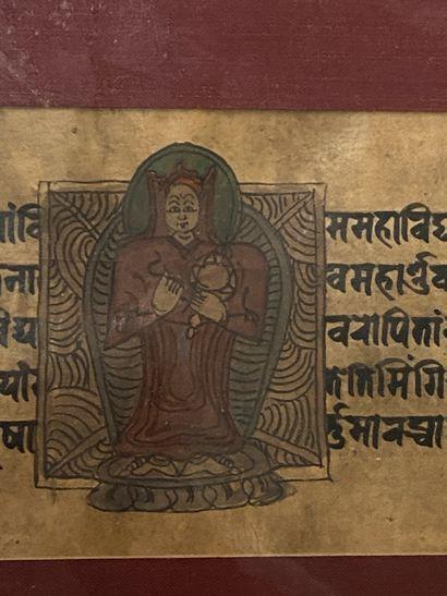 INDE  Deux calligraphies sur velin.  Ecritures...