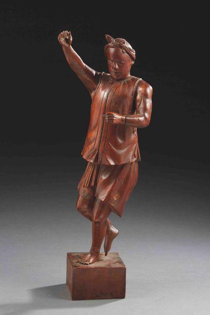 INDOCHINE - Vers 1900  Statuette de dignitaire...
