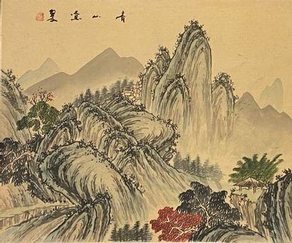 CHINE  Paysage montagneux.  Peinture sur...