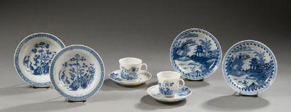CHINE  Ensemble de porcelaine sous couverte...