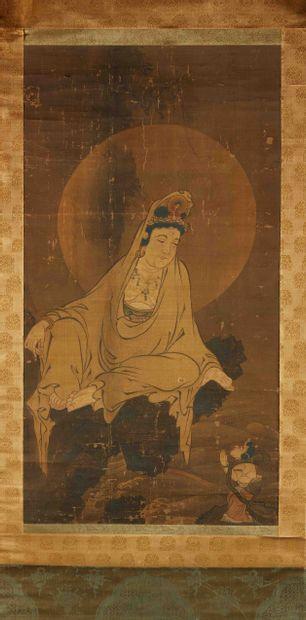 JAPON  Peinture sur papier marouflé sur tissu...