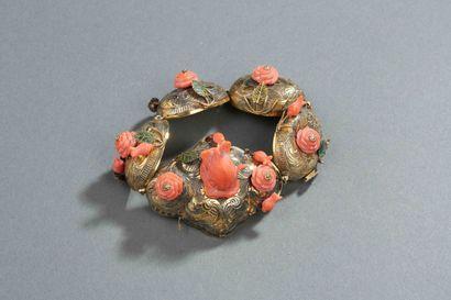 CHINE - Bracelet en argent doré formé de...