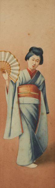 JAPON Deux portraits de femme à l'éventail et à la rose. Deux aquarelles. Epoque...