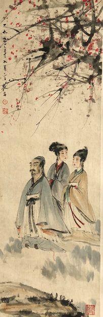 CHINE Peinture sur rouleau encre et couleurs représentant trois personnages